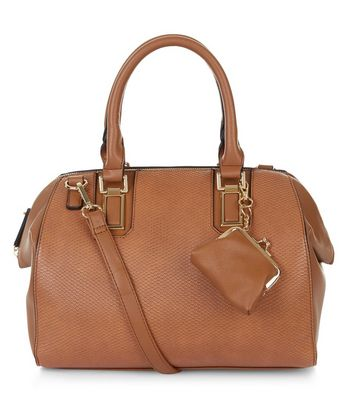 Tan Textured Purse Clip Bowler Bag