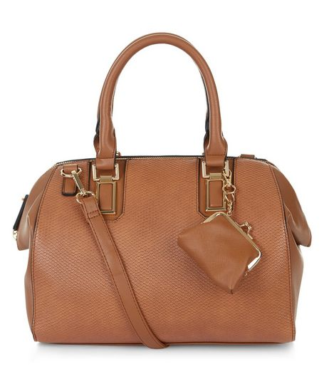 Tan Textured Purse Clip Bowler Bag  | New Look