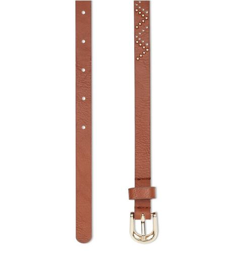 Tan Stud Laser Cut Out Skinny Belt  | New Look