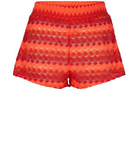 Red Stripe Crochet Shorts | New Look