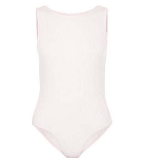 Petite Shell Pink Ribbed Bodysuit | New Look