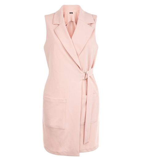 Petite Shell Pink D-Ring Belted Sleeveless Jacket | New Look
