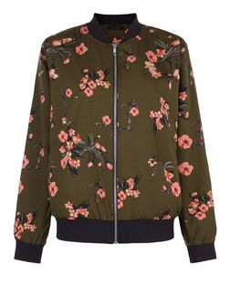 Khaki Floral Print Bomber Jacket | New Look