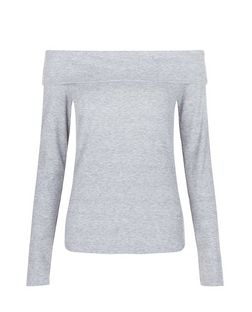 Tall Grey Fold Over Bardot Neck Top | New Look