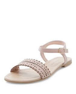 Teens Cream Laser Cut Out Sandals | New Look