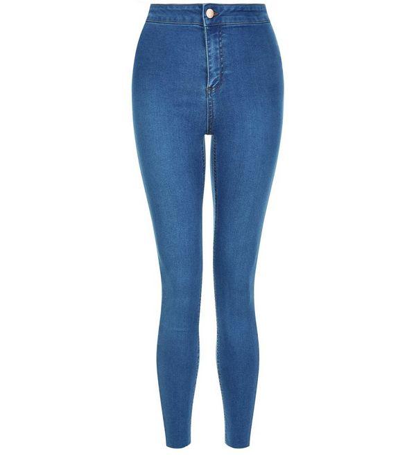Blue Raw Hem High Waisted Super Skinny Jeans
