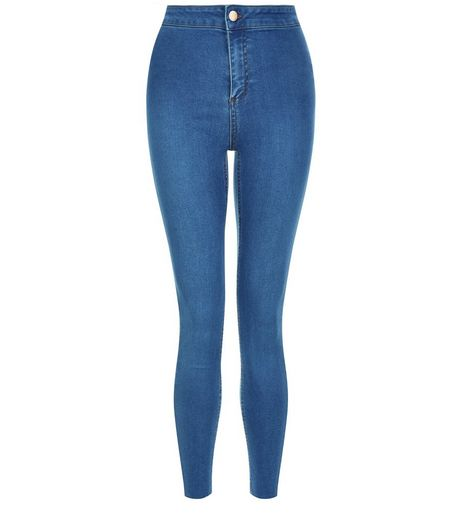 Blue Raw Hem High Waisted Super Skinny Jeans  | New Look