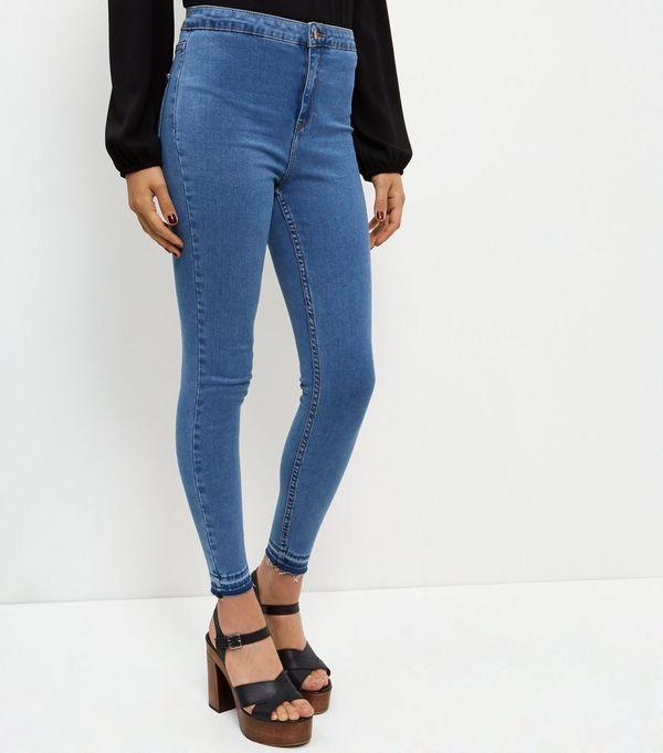 Blue Drop Hem High Waist Super Skinny Jeans