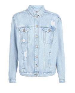 Blue Love Without Tears Ripped Oversized Denim Jacket  | New Look