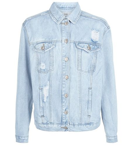 Blue Slogan Ripped Oversized Denim Jacket  | New Look