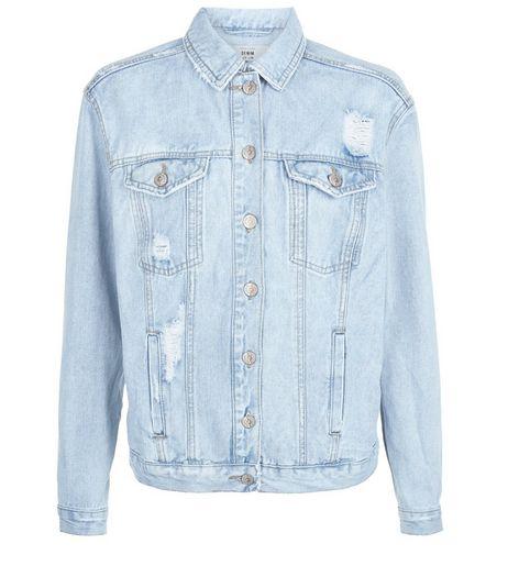 Veste en jean bleu déchirée oversize à inscription | New Look