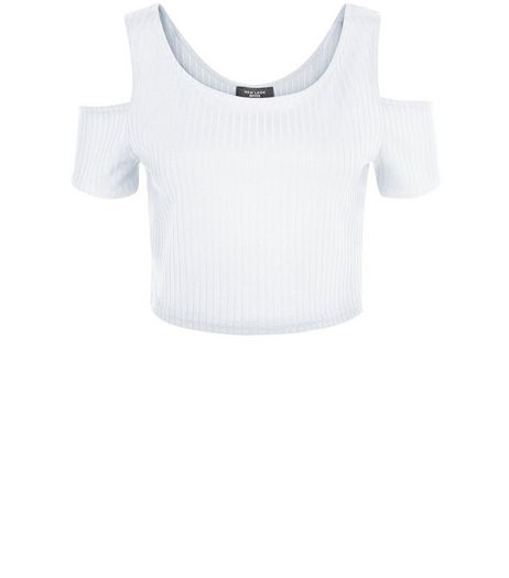 Petite White Ribbed Cold Shoulder Crop Top | New Look