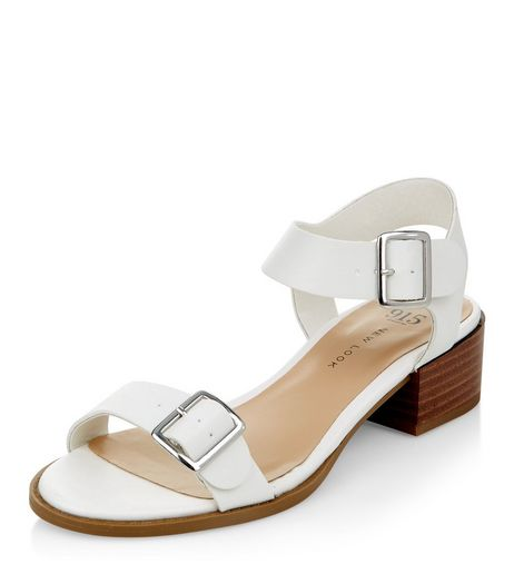Teens White Leather-Look Block Heel Sandals  | New Look