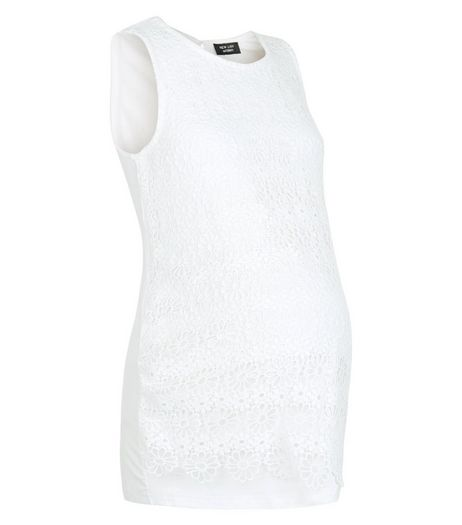 Maternity White Lace Sleeveless Top | New Look