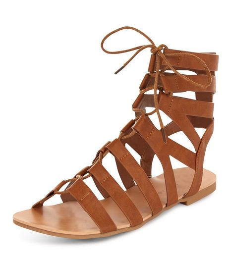Teens Tan Lace Up Gladiator Sandals | New Look