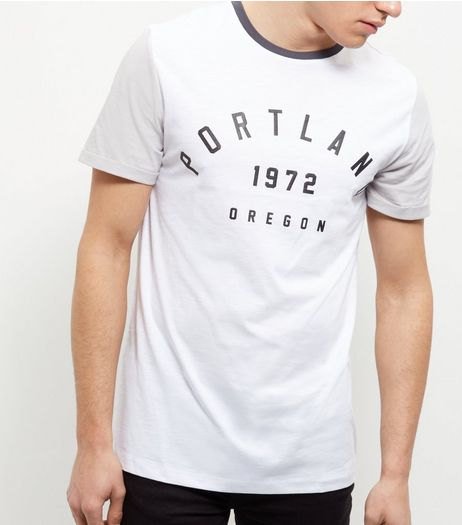 White Colour Block Portland T-Shirt  | New Look