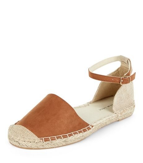 Wide Fit Tan Suedeette Ankle Strap Espadrilles  | New Look