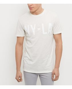 Cream NY-LA Slub T-Shirt  | New Look