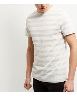 Cream Aztec Stripe T-Shirt  | New Look