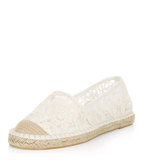 Wide Fit Cream Crochet Espadrilles  | New Look
