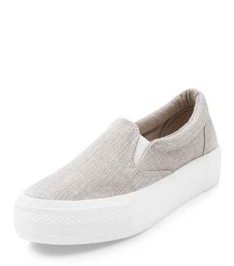 Wide Fit Grey Canvas Flatform Plimsolls  | New Look