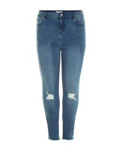 Curves Blue Ripped Knee Fray Hem Skinny Jeans | New Look