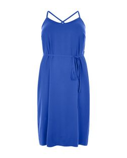 Curves Blue Cross Back Strap Slip Dress  | New Look
