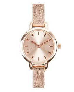 Rose Gold Metallic Skinny Strap Watch | New Look