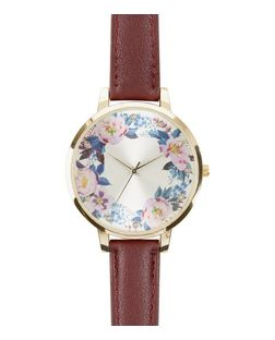 Purple Floral Print Face Watch  | New Look