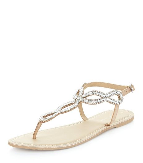 Stone Leather Gem Stone Twist Strap Sandals  | New Look