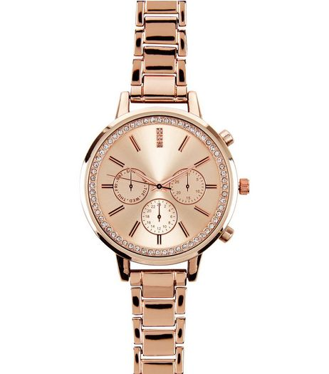Rose Gold Diamante Sports Watch | New Look