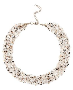 White Beaded Bib Necklace | New Look