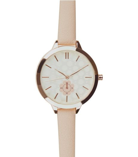 Shell Pink Floral Print Skinny Strap Watch | New Look