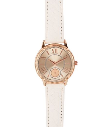 Shell Pink Croc Textured Strap Watch  | New Look