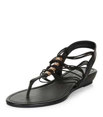 Sandalo  donna Wide Fit Black Diamante Strappy Wedge Sandals