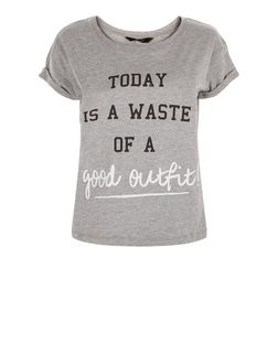 Teens Grey Waste of Good Outfit T-Shirt | New Look