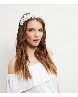 White Oversied Floral Headband  | New Look