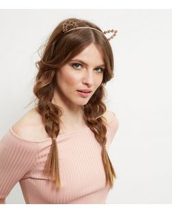 Pink Glitter Floral Cat Ears Headband | New Look