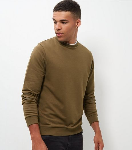 Khaki Crew Neck Sweater  | New Look