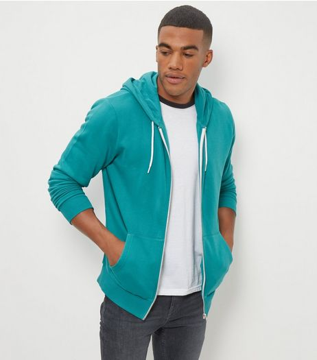 Light Green Zip Up Hoodie  | New Look