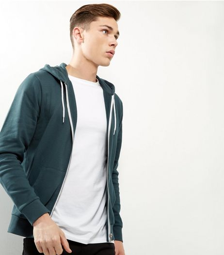 Dark Green Zip Up Hoodie | New Look
