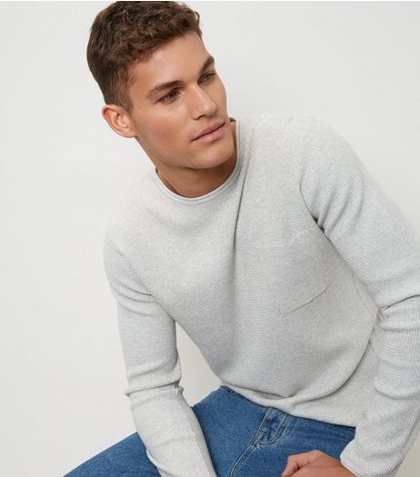 Silver Textured Single Pocket Jumper | New Look