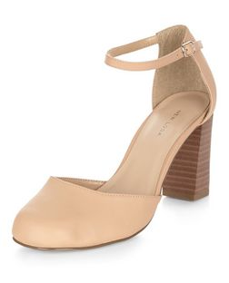 Stone Patent Ankle Strap Block Heels  | New Look