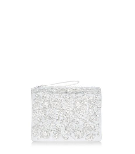 White Lace Embellished Zip Top Coin Purse | New Look