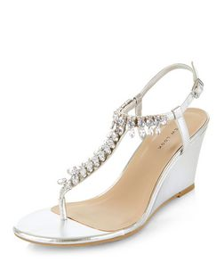 Silver Embellished T-Bar Strap Wedges  | New Look