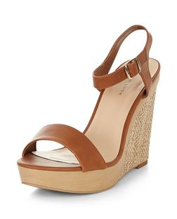 Tan Woven Contrast Wedge Sandals   | New Look