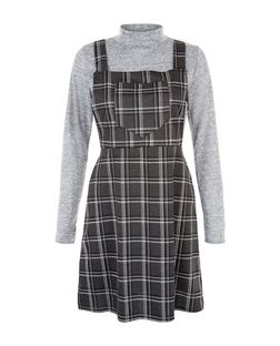 Blue Vanilla Grey 2 in 1 Check Pinafore Dress  | New Look