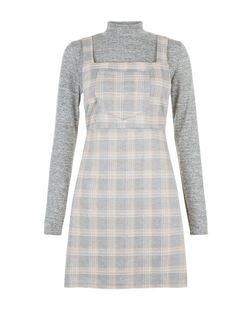 Blue Vanilla Pink 2 in 1 Check Pinafore Dress  | New Look