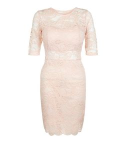 Loving This Shell Pink Lace V Back Dress | New Look