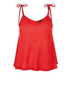 Red Fine Knit Tie Strap Cami  | New Look